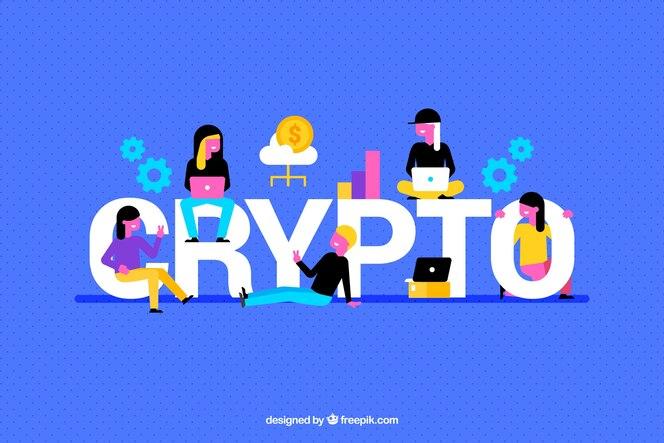 Fondo criptográfico con elementos coloridos y personas