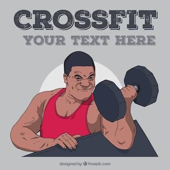 Fondo de crossfit de hombre levantando pesas
