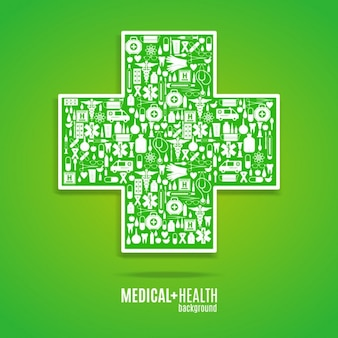 Fondo de cruz médica verde