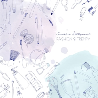 Fondo cuadrado de cosméticos de moda con maquillaje artista objetos y manchas de acuarela. ilustración dibujada a mano con lugar para el texto.