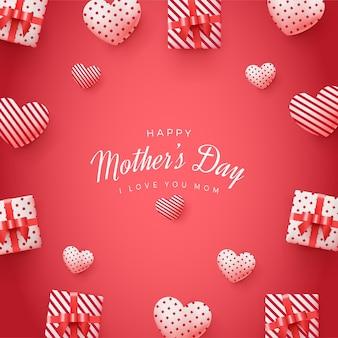 Fondo cuadrado del día de la madre con cajas de regalo 3d y globos de amor.