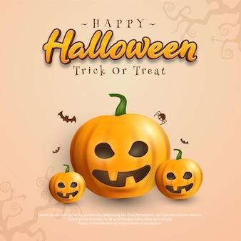 Fondo cuadrado de halloween con calabaza 3d
