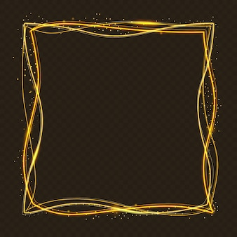 Fondo cuadrado de marco dorado con efecto luminoso.