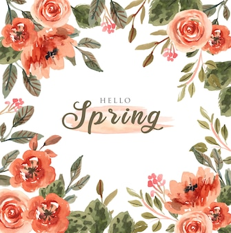 Fondo cuadrado de primavera colorida con flores de acuarela rosa