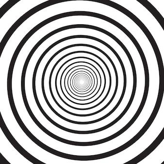 Fondo cuadrado psicodélico monocromo abstracto con remolino circular, hélice o vórtice. telón de fondo con ilusión óptica redonda o giro radial. ilustración moderna en colores blanco y negro.