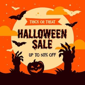 Fondo cuadrado de publicación de instagram de redes sociales de venta de halloween