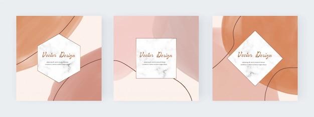 Fondo cuadrado de redes sociales con formas de acuarela de trazo de pincel a mano alzada abstracta desnuda y marcos de mármol