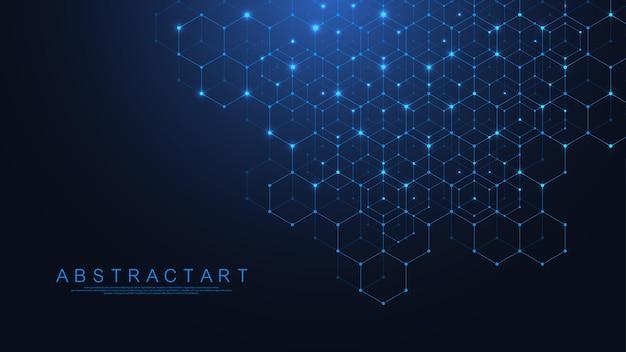 Fondo de cuadrícula abstracta de hexágonos con puntos y líneas conectadas. patrón digital hexagonal con polígonos sutiles. textura geométrica lineal. ilustración vectorial hexagonal