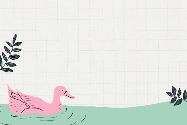 Fondo de cuadrícula de marco de patrón de cisne vintage