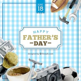 Fondo a cuadros con artículos de acuarela para el día del padre