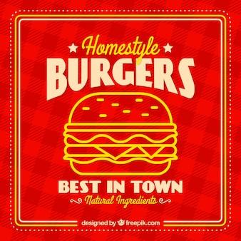 Fondo a cuadros con hamburguesa sabrosa en diseño plano