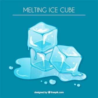 Fondo de cubos de hielo derritiéndose