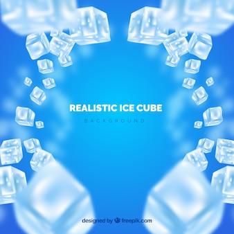 Fondo de cubos de hielo en estilo realista