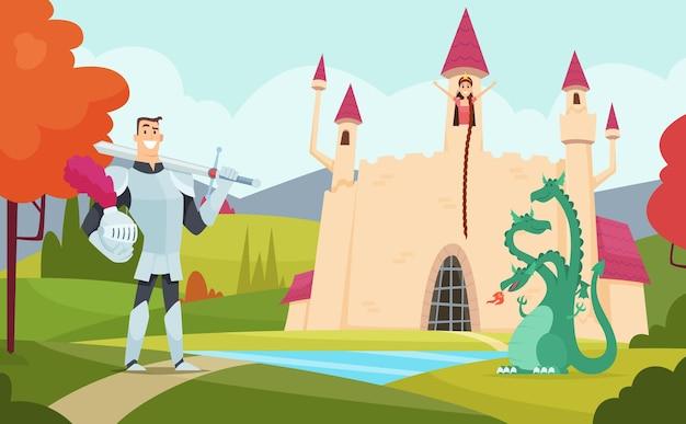 Fondo de cuento de hadas. paisaje de fantasía al aire libre con divertidos personajes mágicos del mundo de dibujos animados.