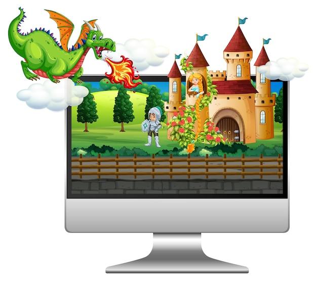Fondo de cuento de hadas en la pantalla de la computadora