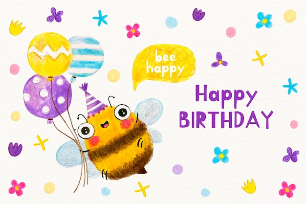 Fondo de cumpleaños acuarela con abeja vector gratuito