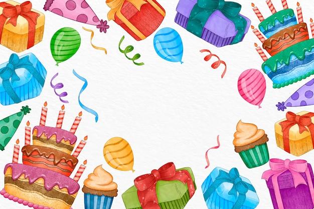 Fondo de cumpleaños acuarela con espacio vacío