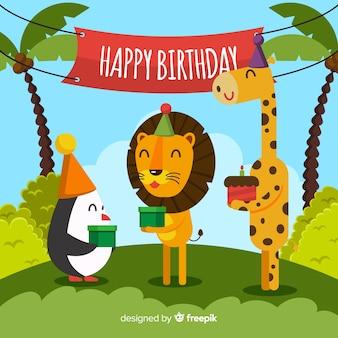 Fondo cumpleaños animales felices
