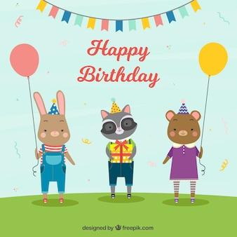 Fondo de cumpleaños con animales