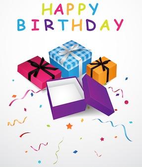 Fondo de cumpleaños con caja de regalo y confeti.