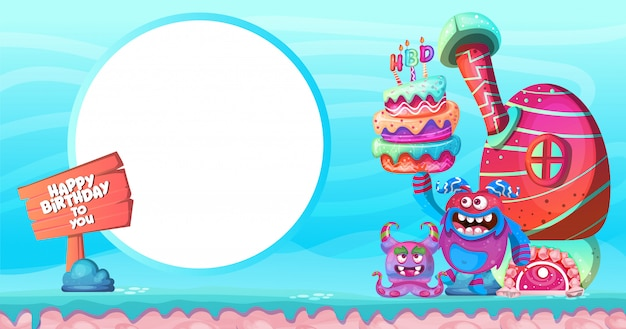 Fondo de cumpleaños colorido diseño de personajes