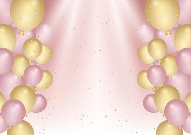 Fondo de cumpleaños con confeti y globos rosados y dorados.