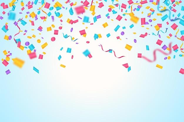 Fondo de cumpleaños de confeti realista