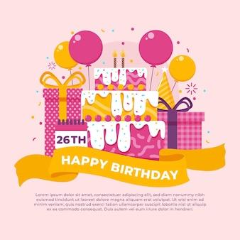 Fondo de cumpleaños creativo ilustrado
