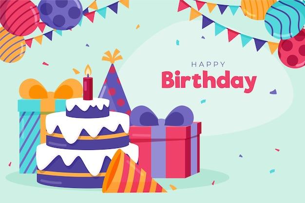 Fondo de cumpleaños detallado con pastel