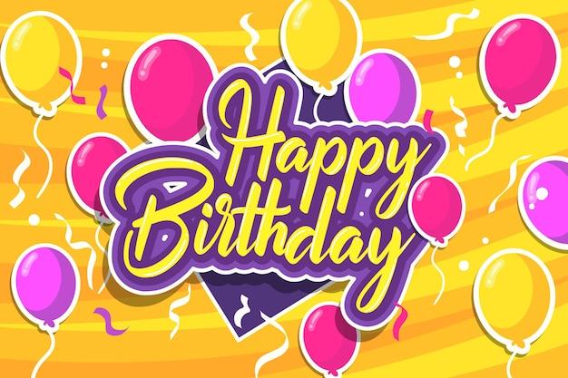 Fondo de cumpleaños dibujado a mano con globos de colores