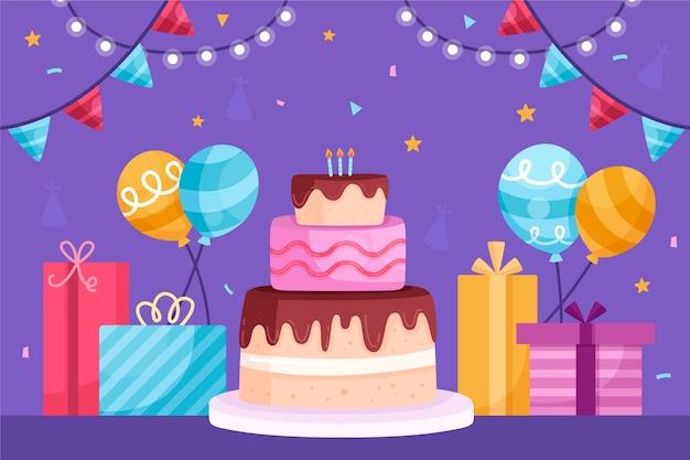 Fondo de cumpleaños dibujado a mano