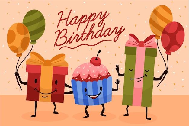 Fondo cumpleaños dibujado a mano