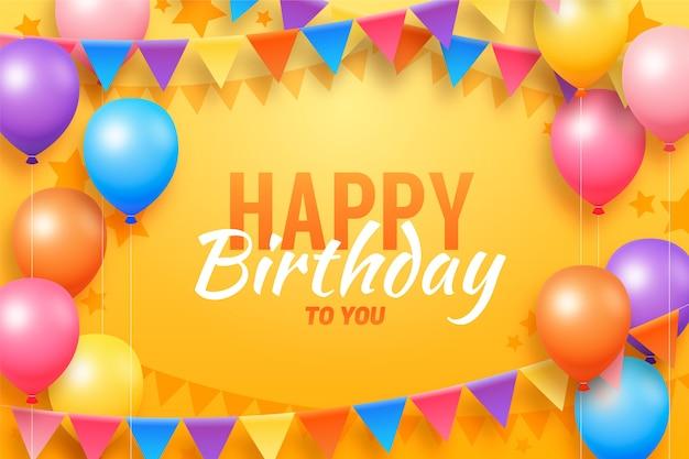 Fondo de cumpleaños de diseño plano con globos