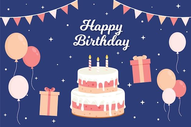Fondo de cumpleaños en diseño plano
