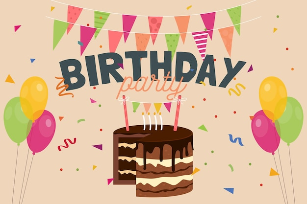 Fondo de cumpleaños de diseño plano