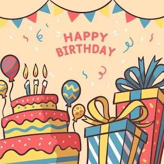 Fondo de cumpleaños de estilo dibujado a mano