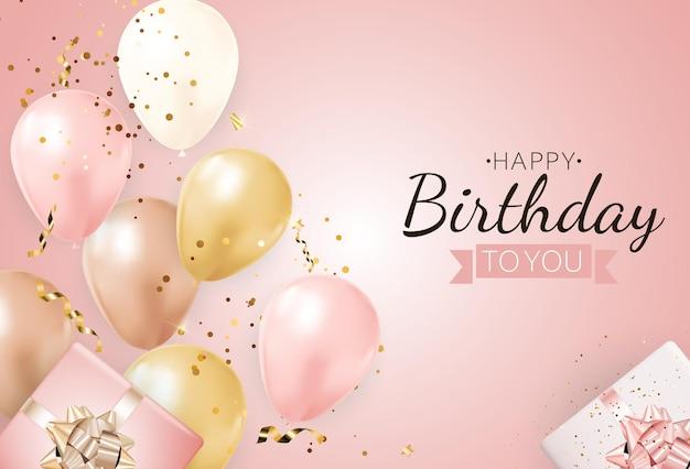 Fondo de cumpleaños feliz fiesta con globos realistas y caja de regalo.