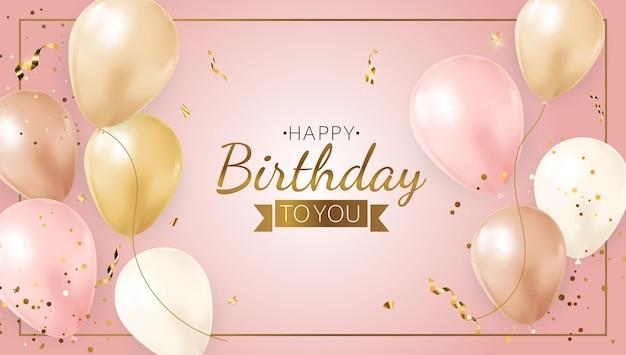 Fondo de cumpleaños feliz fiesta con globos realistas, marco y confeti.