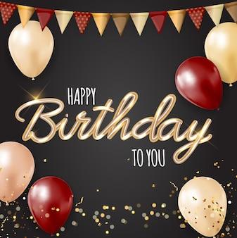 Fondo de cumpleaños feliz fiesta con globos realistas.