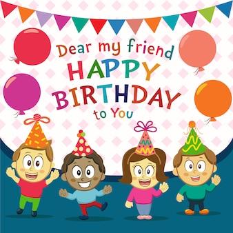 Fondo de cumpleaños feliz con niños