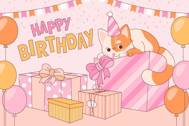 Fondo de cumpleaños de gato plano orgánico