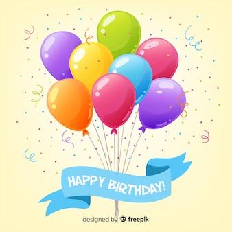 Fondo de cumpleaños con globos en 2d