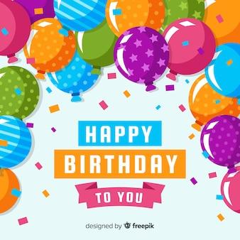 Fondo cumpleaños globos coloridos estampados