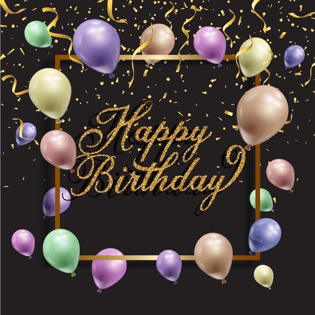 Fondo de cumpleaños con globos y confeti.