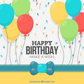 Fondo de cumpleaños con globos y confeti