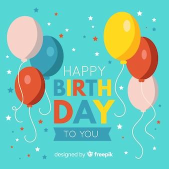 Fondo cumpleaños globos dibujados a mano