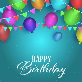 Fondo de cumpleaños con globos y diseño de banderines