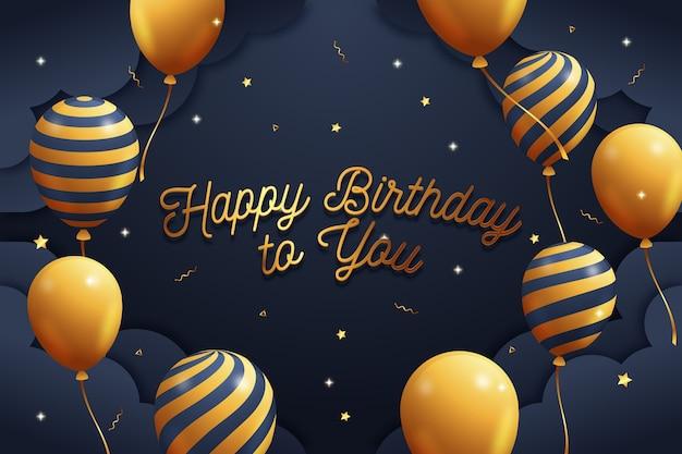 Fondo de cumpleaños con globos dorados