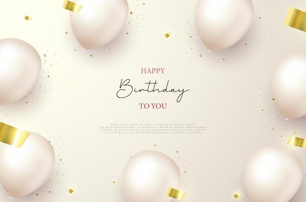 Fondo de cumpleaños con globos de globos y cintas de oro rasgadas.