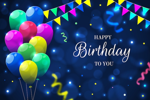 Fondo de cumpleaños con globos y guirnaldas